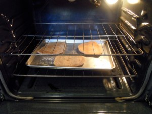 Place disks on a lightly floured cookie sheet and cook in hot oven for 1-2 minutes per side.