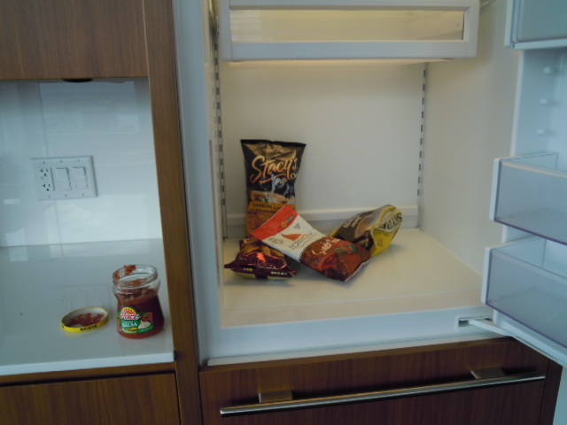 My own fascinating fridge find: note the irony of the chips and the salsa